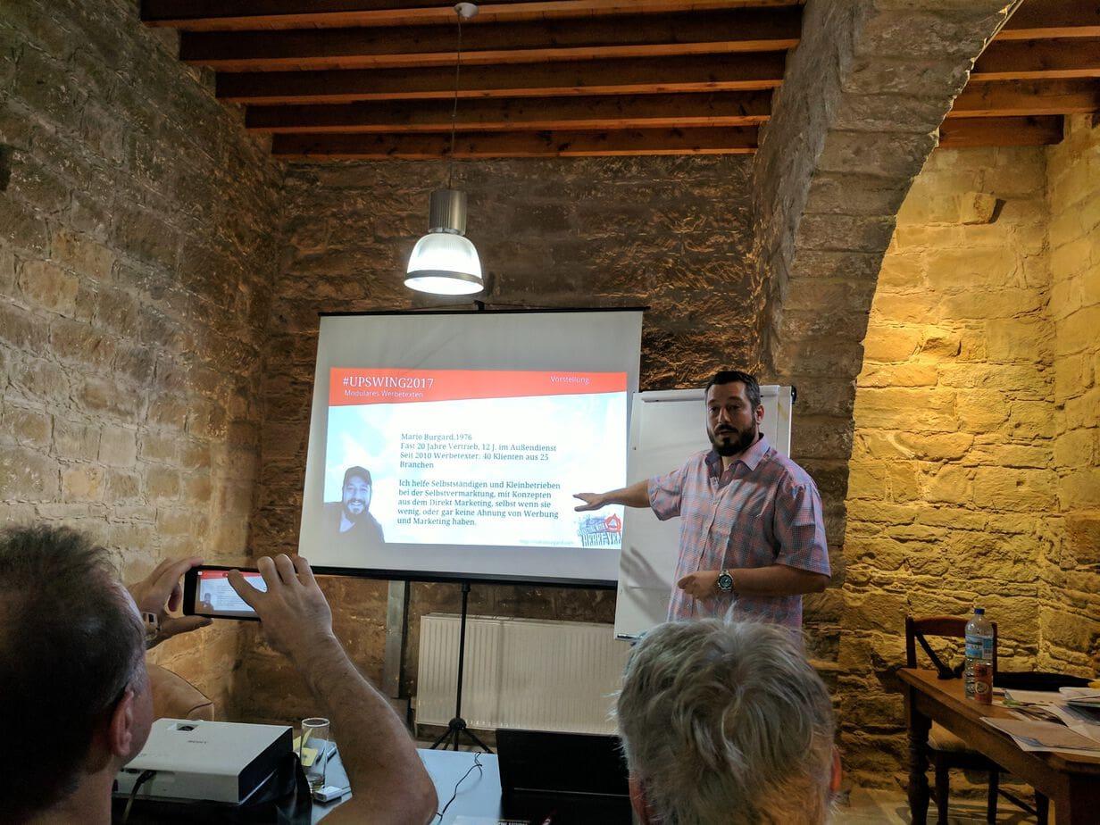 Mario Burgard Upswing 2018 Zypern Tochni Vortrag Werbetexte
